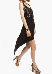 Black Patchwork Sequin Hollow-out Swallowtail Dress