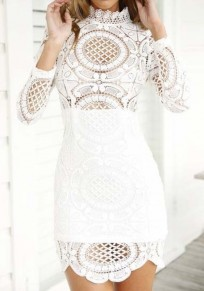 White Plain Hollow-out Lace Wavy Edge Band Collar Long Sleeve Mini Dress