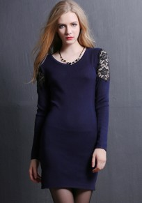 Navy Blue Patchwork Lace Hollow-out Sweet Mini Dress