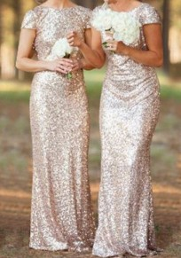 Rose Gold Plain Sequin V-Back Neck Short Sleeve Maxi Dress