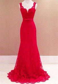 Red Patchwork Lace Bow Belt Backless Plunging Neckline Sexy Maxi Dress