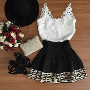 White Patchwork Black Condole Belt Lace V-neck Mini Dress