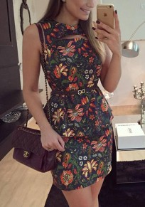 Green Floral Cut Out Ruffle Round Neck Sleeveless Mini Dress