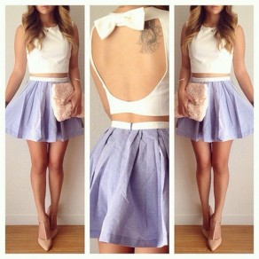 White Patchwork Light Purple Pleated Cut Out Bow Mini Dress
