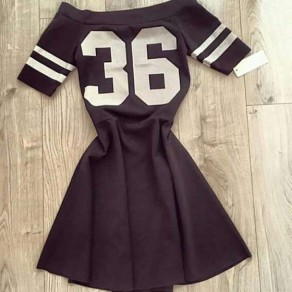 Black Patchwork White Letter Print Pleated Boat Neck Mini Dress
