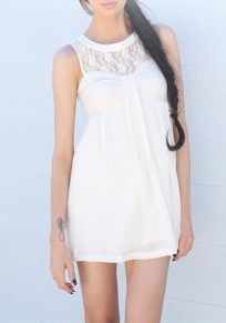 White Patchwork Lace Pleated Round Neck Sleeveless Loose Cute Mini Dress