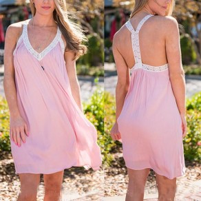 Pink Patchwork Condole Belt V-neck Sleeveless Mini Dress
