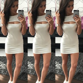 White Plain Crop Round Neck Short Sleeve Fashion Mini Dress