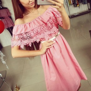 Pink Plain Lace Hollow-out Boat Neck Sweet Polyester Midi Dress