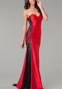 Red Patchwork Lace Sleeveless Party Polyester Maxi Dress