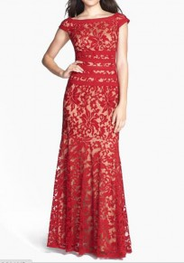 Red Floral Lace Short Sleeve Elegant Maxi Dress