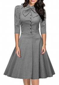 Black Plaid Draped Bow Buttons A-Line Band Collar 3/4 Sleeve Midi Dress