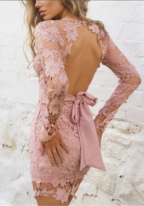 Pink Patchwork Hollow-out Lace Tie Back Backless Mini Dress