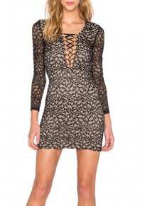 Black Leaves Print Lace Hollow-out Drawstring Lace-up V-neck Bodycon Mini Dress