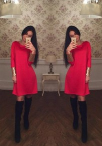 Red Patchwork Sequin Round Neck Long Sleeve Midi Dress