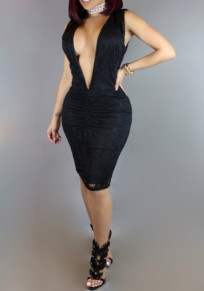 Black Patchwork Lace Hollow-out Deep V-neck Clubwear Ruched Midi Dress