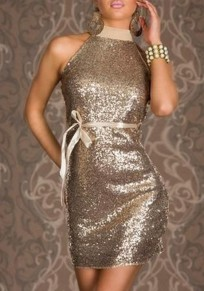 Apricot Plain Sequin Backless Halter Neck Band Collar Club Bodycon Mini Dress