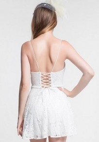 White Patchwork Condole Belt Hollow-out V-neck Sexy Mini Dress