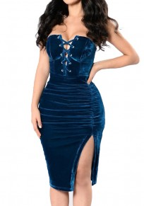 Blue Lace-up Drawstring Off Shoulder Side Slit Sexy Cotton Midi Dress