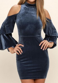 Blue Plain Cut Out Band Collar Fashion Pleuche Mini Dress