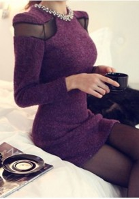 Purple Patchwork Studded Grenadine Round Neck Mini Dress