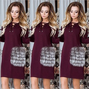 Red Patchwork Pockets Fur Drawstring Long Sleeve Mini Dress