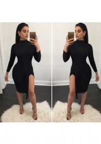 Black Plain Side Slit Long Sleeve Midi Dress