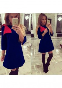 Blue Patchwork Bow Round Neck Fashion Wedding Mini Dress