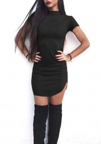 Black Plain Zipper High Neck Mini Dress