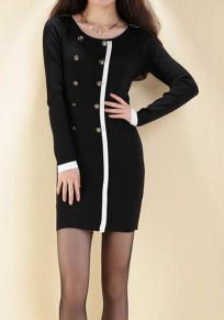 Black Patchwork Buttons Round Neck Long Sleeve Mini Dress