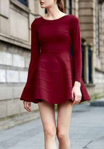 Wine Red Plain Ruffle Round Neck Long Sleeve Mini Dress