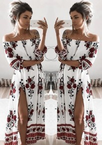 White Floral Side Slit Boat Neck Fashion Maxi Dress