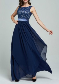 Navy Blue Patchwork Lace Irregular Chiffon Wedding Gowns High Waisted Maxi Dress