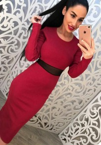 Red Plain Round Neck Long Sleeve Midi Dress