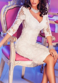 White Patchwork Hollow-out Lace Plunging Neckline Midi Dress