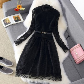 Black Floral Lace 2-in-1 High Neck Mini Dress