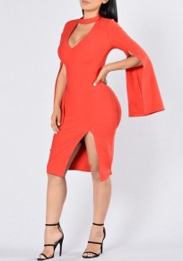 Red Plain Cut Out Side Slit Flare Sleeve Bodycon Midi Dress