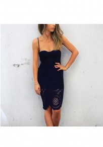 Black Patchwork Lace Collarless Cotton Midi Dress