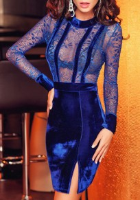 Navy Blue Patchwork Lace Hollow-out Side Silt Mini Dress