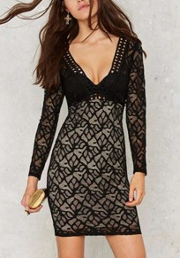 Black Patchwork Hollow-out Lace Plunging Neckline Long Sleeve Mini Dress