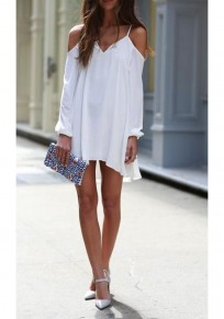 White Plain Draped V-neck Fashion Cotton Mini Dress