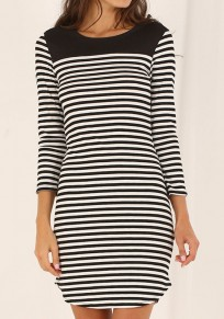 Black Striped Irregular Round Neck Sexy Mini Dress