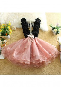 Pink Patchwork Bow Tiered Ruffle Elegant Mini Dress