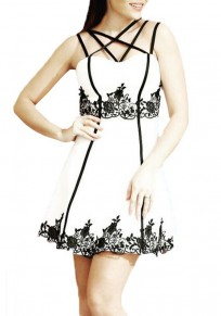 White Floral Cut Out Lace Condole Belt Mini Dress