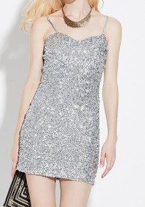 Silver Plain Sequin Condole Belt Sleeveless Maxi Dress