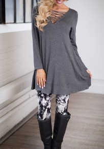 Grey Plain Hollow-out V-neck Long Sleeve Mini Dress
