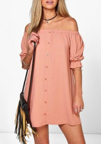Pink Plain Buttons Ruffle Boat Neck Mini Dress