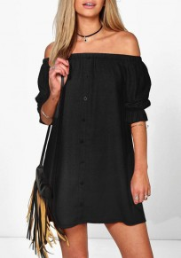 Black Plain Buttons Ruffle Boat Neck Mini Dress