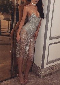 Silver Grenadine Sequin Spaghetti Straps See-through Side Slit Homecoming Midi Dress