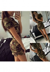 Green Camouflage Irregular Round Neck Fashion Mini Dress